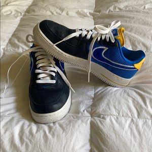 Nike ID Custom Made Blue & Yellow Airforce 1s